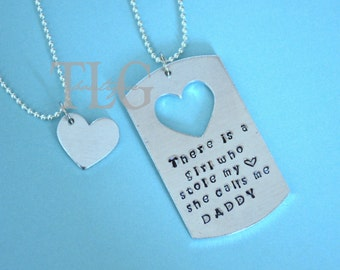 Hand Stamped Men's Dog Tag with Matching Girls Necklace