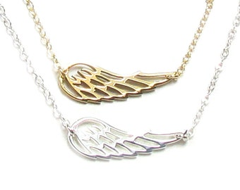 Sideways Angel Wing Necklace,  Sterling Silver Or Gold Filled and Bronze