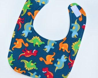Drool Bib Dinosaurs Baby Bib for Baby Shower Gift, Infant Bib New Baby Gift Idea Soft Flannel Backing