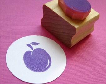 Plum Hand Carved Rubber Stamp - Fruit Stamper- Gift for Foodie - Jam Jar Label - Kitchen Gift - Food Craft - Gift for Baker - Baker - Bakery