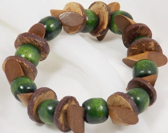 Green Wood Brown Wood Beaded Bracelet Stretch Tribal