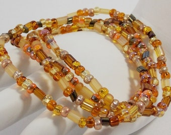 Gold Amber Brown Layer Seed Bead Bracelets Stretch Bracelets Stack Bracelets 4 Individual Strands