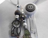 Owl Bookmark with gray and silver beads