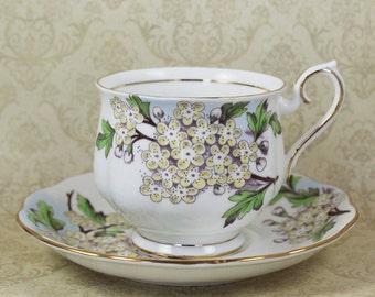 Vintage Royal Albert Flower of the Month Hawthorn Bone China Tea Cup Set