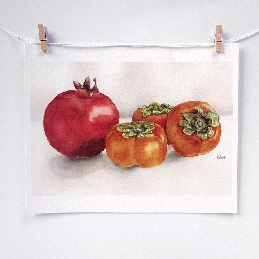 Aquarelle art fruit peinture kaki et grenade orange et - Grenade fruit dessin ...