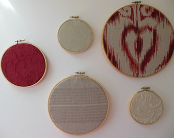 Fabric Wall Hoops Set of 5 Red and Tan Designer Fabric Framed Embroidery Hoop Art