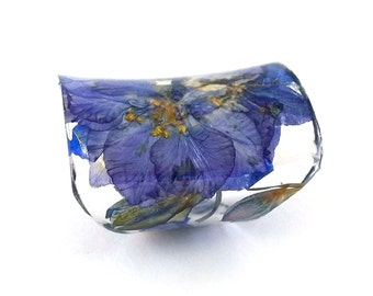 Extra Wide Resin Ring with Purple Larkspur Flowers. Purple Band Ring, Resin Jewelry, Cocktail Ring, Knuckle Ring. Eco Friendly Eco Flowers