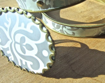 vintage tin jewelry collection, statement ring and two bangle bracelets, white and silver damask jewelry