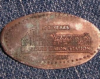 Vintage St. Louis Union Station 100 Years 1894-1994 Elongated Pressed Copper Penny Souvenir Token