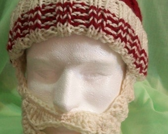 ReDuCeD PrIcE! CUSTOM ORDER Knitted Ribbed Sport Fan Team Colors Hat with Crocheted  Beard, Adult Size