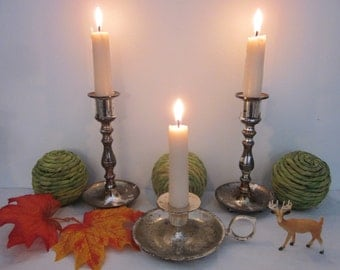 3 vintage Silver Tone Candle Holders lot, Instant collection. Eclectic Boho mix & match styles. Shabby, urban, romantic cottage decor