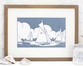 Hand Printed Sailing on the Broads Linocut Print