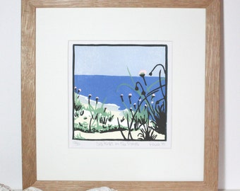 Hand Printed Sea Pinks in the Dunes Linocut Print