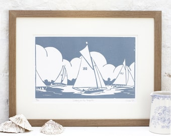 Hand Printed Sailing on the Broads Linocut Print