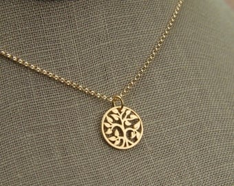 Small gold tree of life pendant and gold filled necklace, gold tree pendant, gold necklace, gold jewelry, matte gold