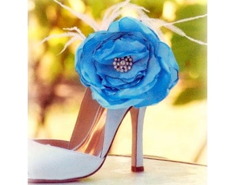 Shoe Clips Something Blue / White / Ivory / Red Flower. Chic Bold Handmade Rose Bride Bridal Bridesmaid,  Millinery Style Couture Heel Bling