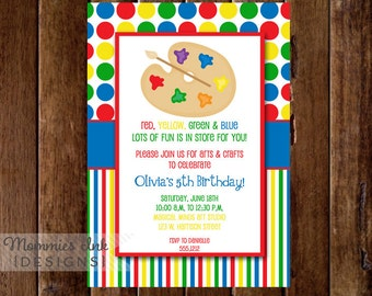 Arts and Crafts Birthday Party Invitation, Art Party, Crafts Party, Arts & Crafts Birthday Invitation, Painting Party Invitation, DIY
