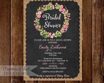 Watercolor Wreath with Burlap and Chalkboard Bridal Shower Invitation- PRINTABLE INVITATION DESIGN