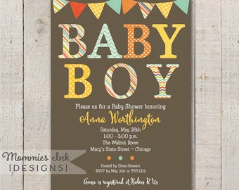Fall Colors - Baby Boy Patterned Baby Shower Invitation - Autumn Invite - Printable Baby Shower Invitation - PRINTABLE INVITATION DESIGN