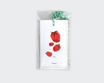 Set of 10 Strawberries Gift Tags