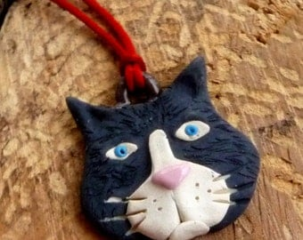 Black  and white kitty cat pendant or ornament