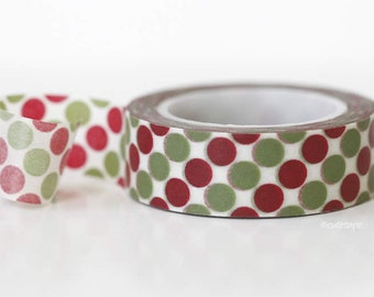 Green Red Dots Washi Tape Chugoku Scrapbooking