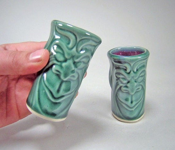 Pair of Shot Glasses Smirk the Gargoyle:- Dark Forest Green Glaze (3oz) Home Bar Accessories Drinkware