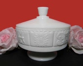 Westmoreland Milk Glass Bride's Bowl/ Candle Holder/ Candy Dish/ Jelly Compote/ With Lid. Princess Feather Pattern. Vintage. 3946