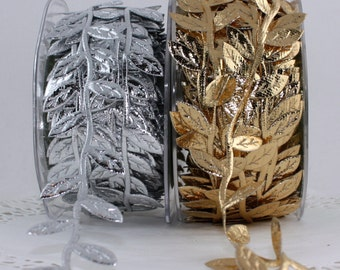 """Silver Leaves Ribbon, 3/8"""" wide by the yard, Silver Ribbon Leaves, Silver Leaf Ribbon, Gift Wrapping, Weddings, Headbands, Baby Halos"""