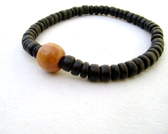 Coconuts - black eco friendly coconouts and wooden beads men bracelet stacking