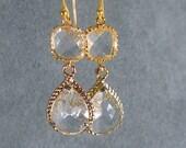 Crystal Glass Braid Gold Bridesmaid Earring, Bridesmaid Jewelry, Wedding Earring, Bridesmaid Gift Idea, Bridal Earring, Wedding Party (402G)