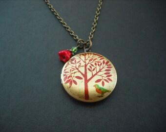 Locket Necklace, Antique Brass Locket Necklace with Bird Under the Tree  Photo Altered Locket