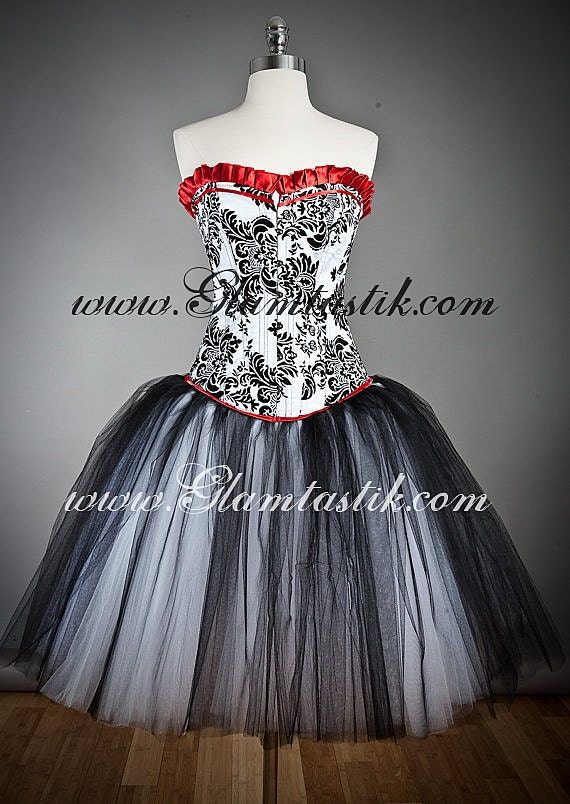 Custom size damask red and black tulle burlesque prom gown tea length