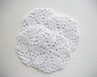 Crochet Coaster Set White Cotton Lace Mug Mats 4 Pieces