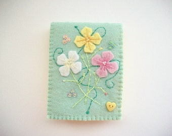 Needle Book Pastel Green Felt Needle Keeper with Hand Embroidered Felt Flowers Handsewn