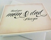 Mom and Dad Wedding Thank You Card, Parents Thank You, Vintage Style