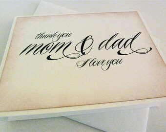 Parent Wedding Thank You Card, Mom and Dad Thank You, Wedding Card, Engagement