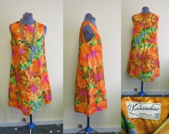 Vintage 60'S Kaikamahine Hawaiian Sleeveless Floral Brightly Colored sleeveless dress Size S TiKi Luau.  Hawaiian Dress, Bright Floral Dress