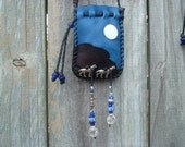 SALE!!! was 59.00 now 45.00 Dark Brown Colored Deerskin Leather Medicine Bag with two Pewter Wolves Howling at the Moon