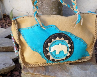 Native Inspired Antelope Skin Leather Makeup Bag/Purse with a Bear Paw Print design and Hand Carved Bone Bear Fetish