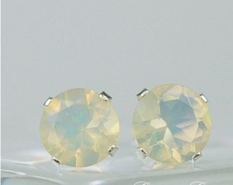Ethiopian Opal Stud Earrings Sterling Silver 6mm Round 1.10ctw Natural Untreated Faceted