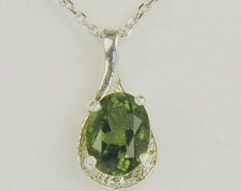 Moldavite Faceted Necklace Sterling Silver 8x6mm Oval 1.10ct In Semi Textured Setting Rare Natural Untreated