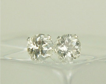 White Topaz Stud Earrings Sterling Silver 6mm Round 2ctw