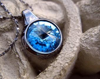 Swarovski Blue Sapphire Crystal Necklace - Gunmetal Black - Genuine Swarovski Jewelry - Bridesmaids Gifts
