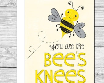 You are the bee's knees! Hand drawn encouragement or graduation card