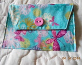 Pink and Aqua Butterfly  Photo Picture Envelope Coupon, Wallet, Organizer, Passport Case