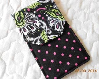Black and Polka Dot   Knitting Needle Case Circular - Double Needle Case - Crochet Hook