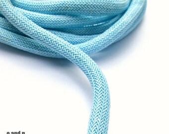 Braided silk cord, 8mm bookbinding rope, baby blue (1m)