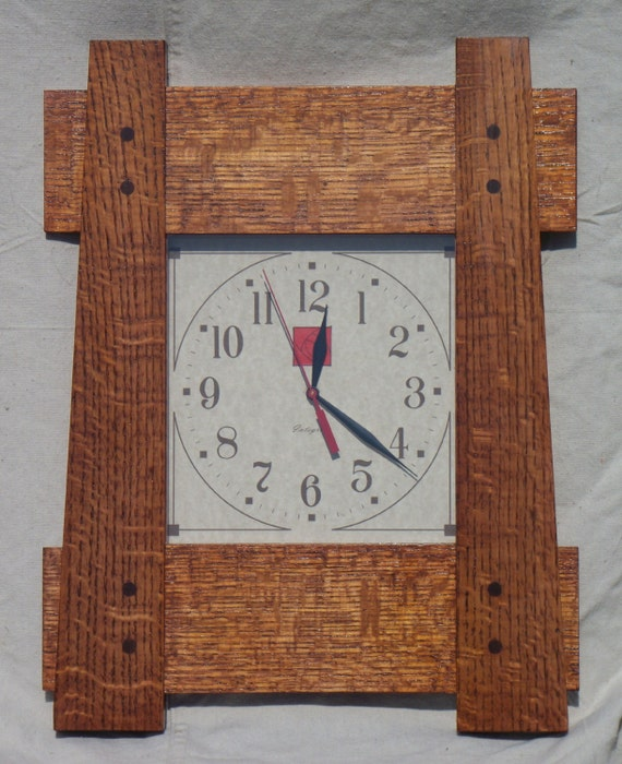 Arts and crafts mission style wall clock for Arts and crafts style wall clock