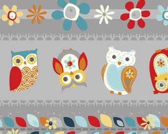 Adorn It Nested Owls Ticker Tape Fabric CHARCOAL Espresso Striped Owls Daisys Leaves on Gray Grey